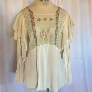 Free People Sheer Embroidered Blouse Top large